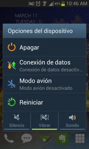 Opciones del dispositivo, en un Samsung Galaxy S3
