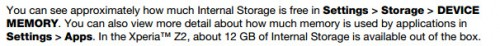 Memoria efectiva en el Sony Xperia Z2, según su White Paper