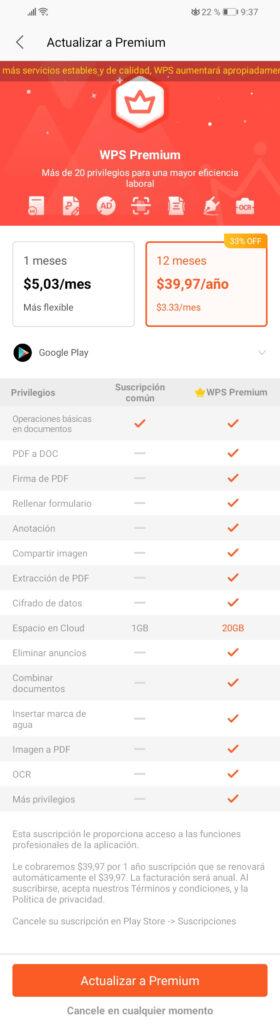 wps gratis vs. wps premium precios