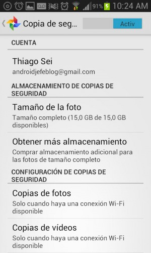 backup de fotos android