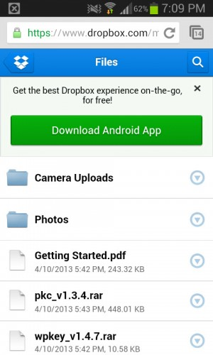 Backup de fotos en Dropbox generado