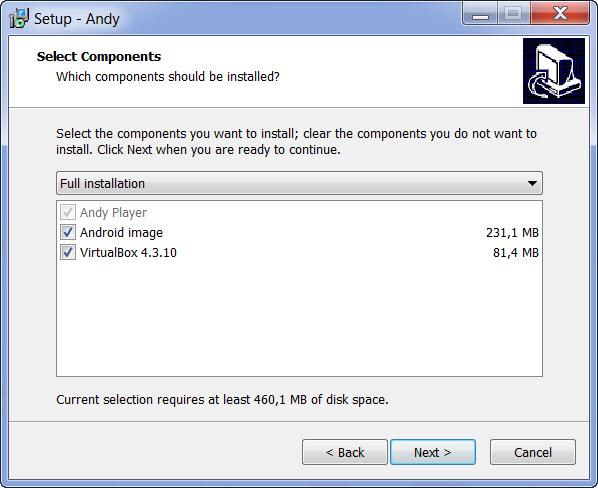 componentes instalar andy