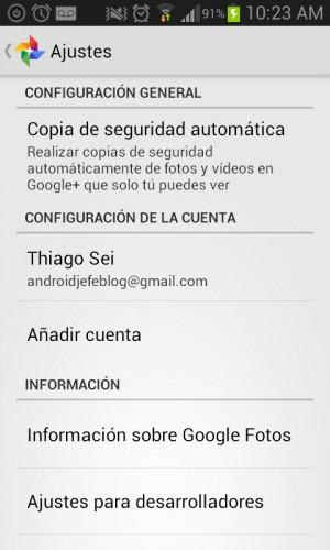 configuracion de google fotos