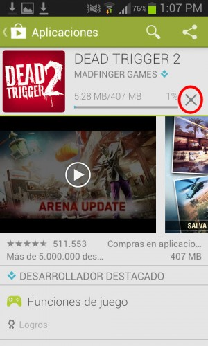 eliminar descarga de aplicacion android