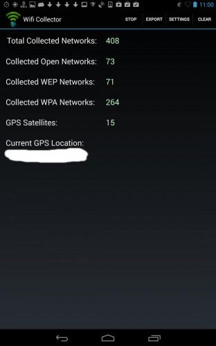 """Todas las wifi próximas, según """"Colector de Wifis"""""""
