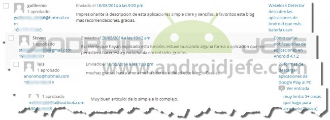 android jefe feedback