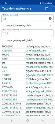 convertir unidades de tasa de transferencia de datos app