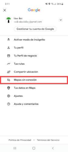 mapas sin conexion google maps menu