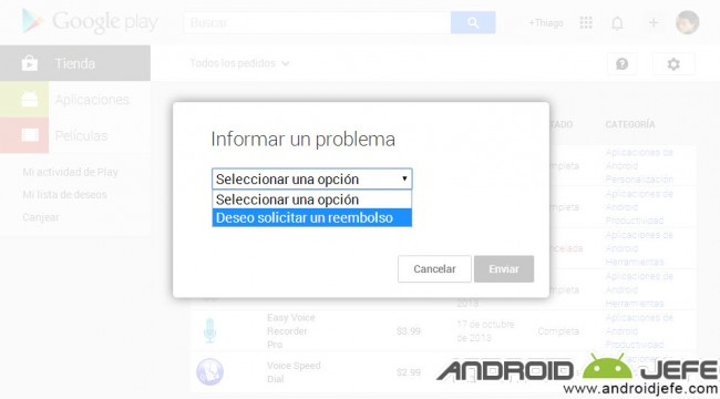 solicitar reembolso google play store