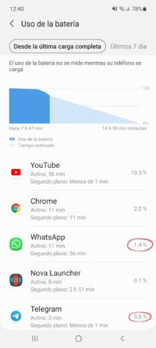 uso bateria whatsapp telegram