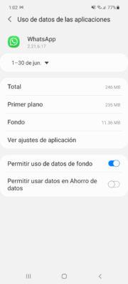 uso de datos whatsapp alto