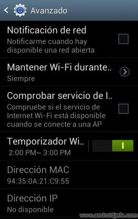 activar temporizador wifi samsung