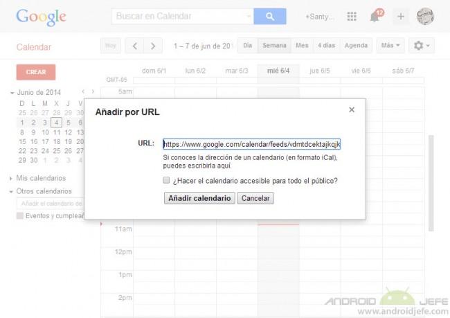 agregar calendario por url en google calendar