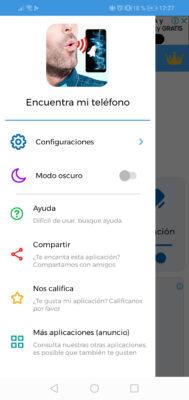 app encontrar celular por silbido menu