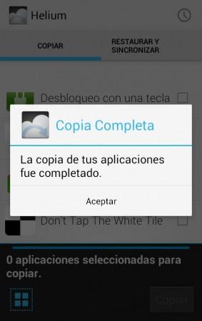 Copia de aplicaciones completada con éxito