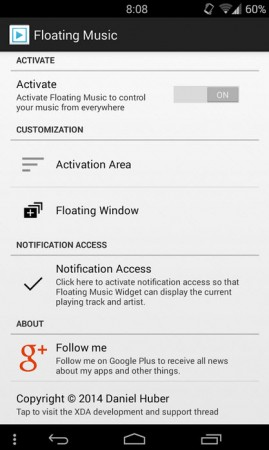 floating music widget android