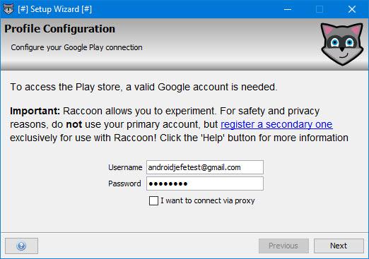 racoon configuracion username password