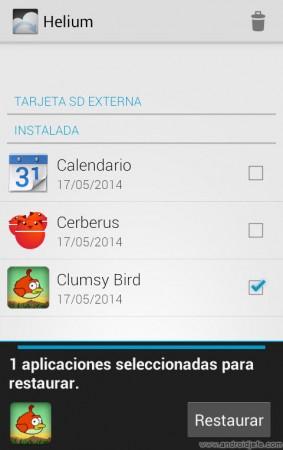Seleccionar apps para restaurar