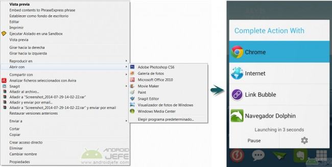abrir con menu contextual windows vs android