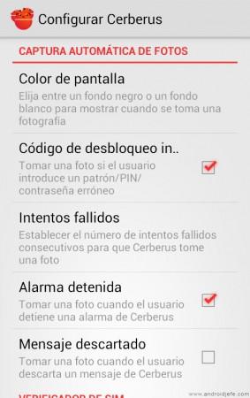 cerberus app android captura automatica de fotos