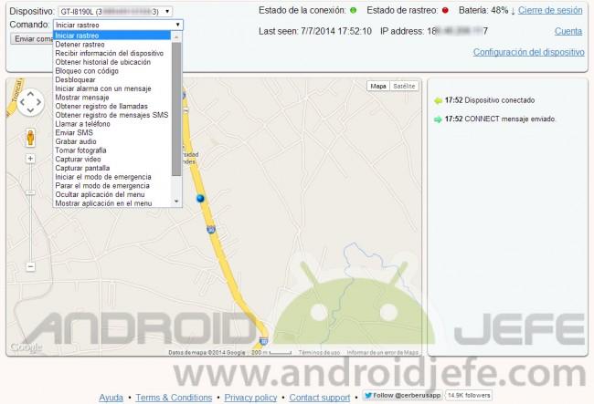 cerberus app android comandos disponibles online
