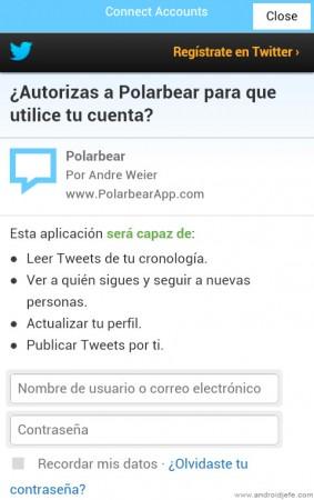 conectar twitter polar bear app