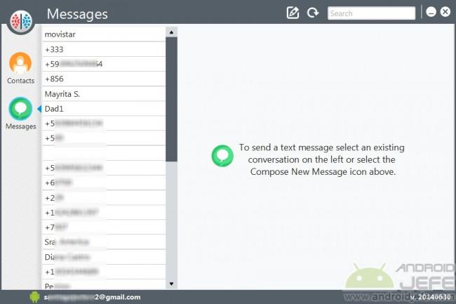Moaxis cliente de escritorio para gestionar SMS Android