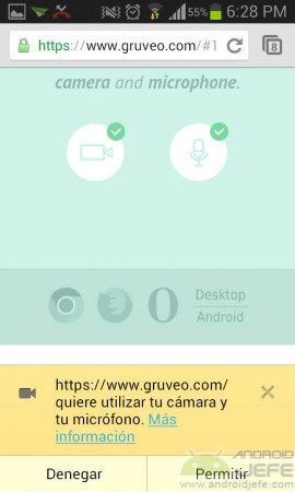 gruveo android permitir