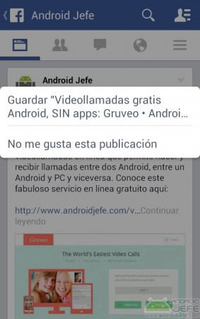 guardar elemento facebook android