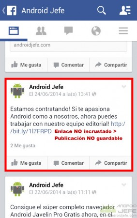 publicacion no guardable facebook