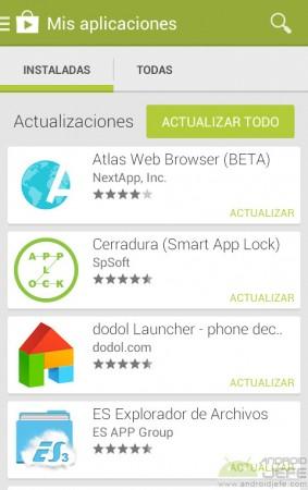 actualizar aplicaciones pendientes play store
