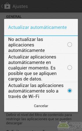 actualizar las aplicaciones automáteicamente solo a través de wifi