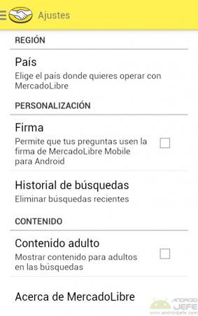 ajustes firma mercado libre para android