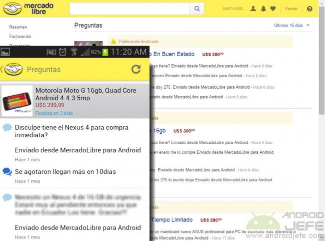 """Leyenda """"Enviado desde Mercado Libre para Android"""" que se genera al preguntar desde la aplicación Android"""