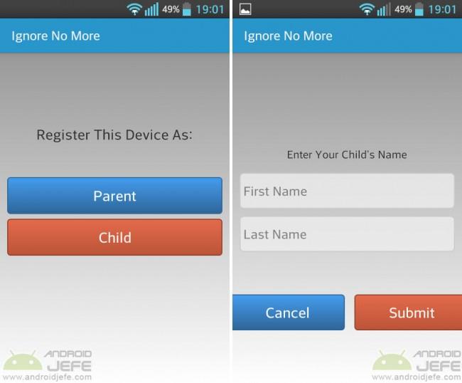 Configurando Ignore no more en el celular del hijo