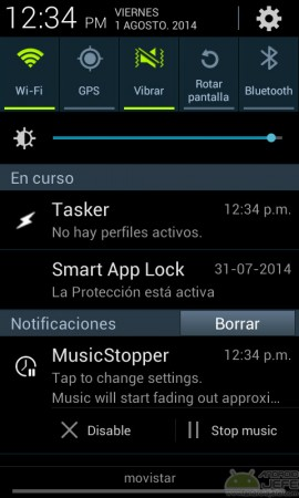 music stopper notificacion