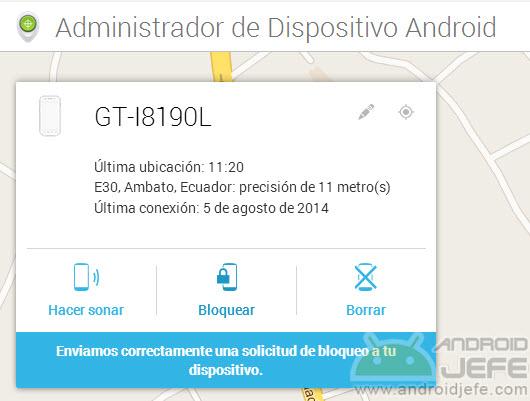 Solicitud de bloqueo de pantalla enviada remotamente desde el navegador al móvil