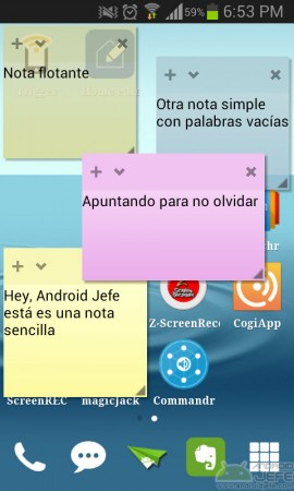poner notas en la pantalla android floating stickies