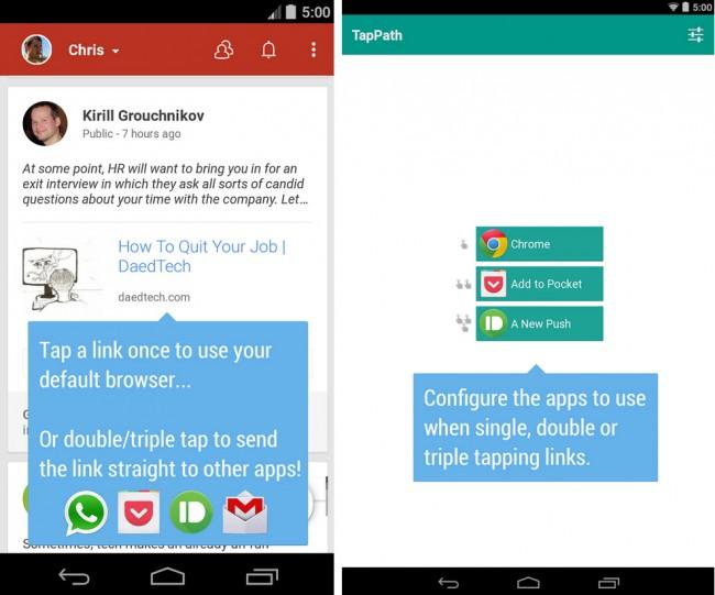 TapPath: Configurar qué aplicación abrirá un link, según el número de clics hechos