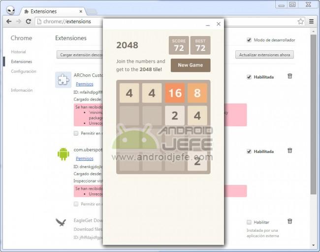 2048 juego android corriendo en google chrome navegador