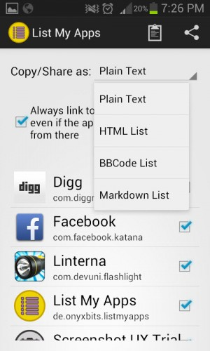 List my apps 2