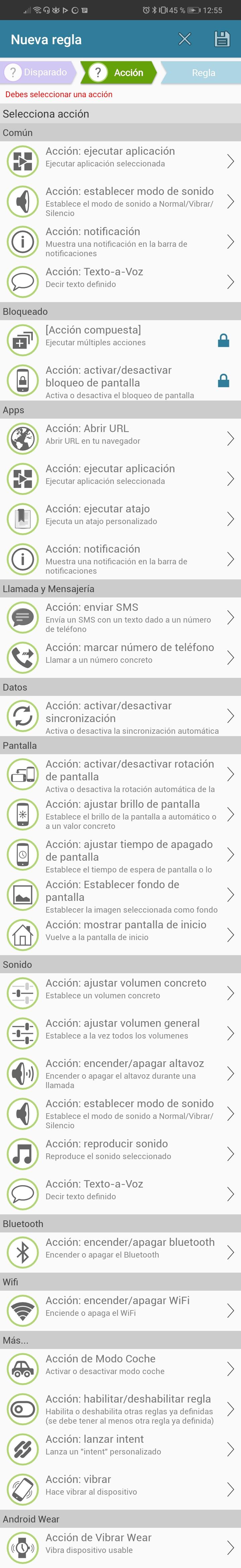 Acciones que se pueden usar en AutomateIt
