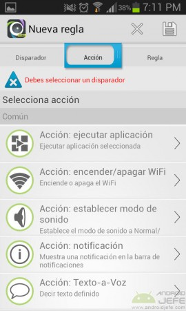 acciones disponibles automateit