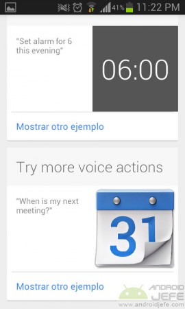 acciones por voz recordar comandos google now