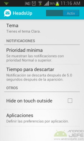 ajustes headsup notificacion emergente