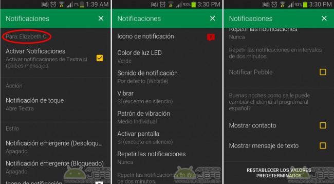 Notificaciones por contacto individual en Textra SMS Android