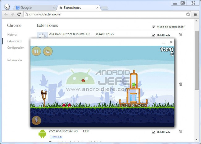 angry birds para android en google chrome