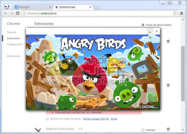 angry birs intro ejecutandose en google chrome