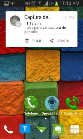 captura de pantalla headsup notificacion emergente
