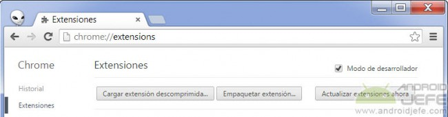 cargar exstension descomprimida apk google chrome